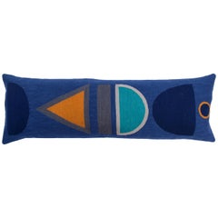 Modern Dana Lumbar Hand Embroidered Blue Wool Throw Pillow Cover