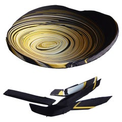 Modern Daniele Papuli for Dilmos Round Plate Bowl Hand-Cut Paper Yellow Black