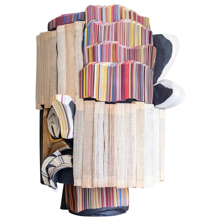 Modern Daniele Papuli for Dilmos Unique Sculpture Vase Handmade Paper Colorful For Sale