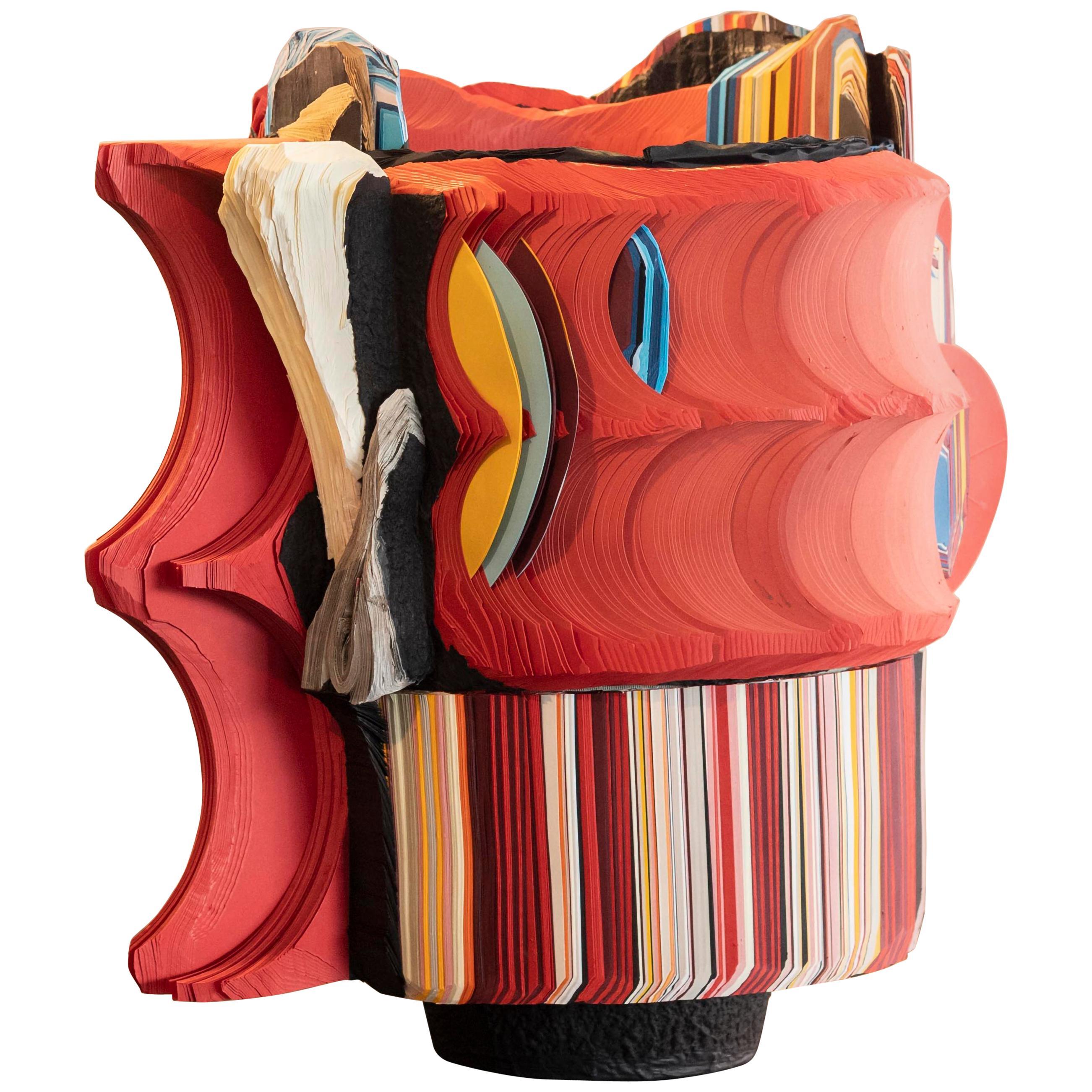 Modern Daniele Papuli for Dilmos Unique Sculpture Vase Handmade Paper Colorful