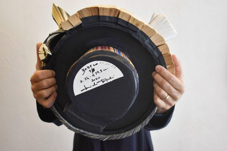 Modern Daniele Papuli for Dilmos Unique Sculpture Vase Handmade Paper Colorful For Sale 6