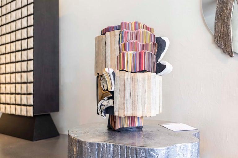 Italian Modern Daniele Papuli for Dilmos Unique Sculpture Vase Handmade Paper Colorful For Sale