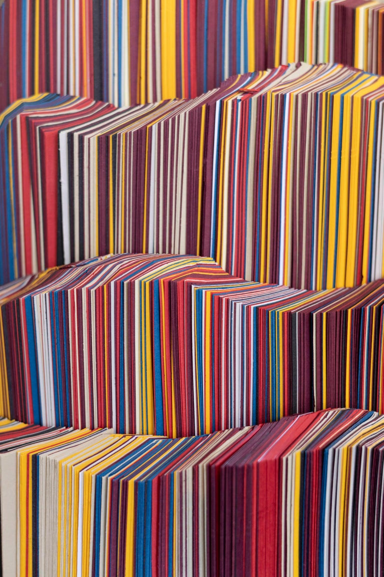 Modern Daniele Papuli for Dilmos Unique Sculpture Vase Handmade Paper Colorful For Sale 2