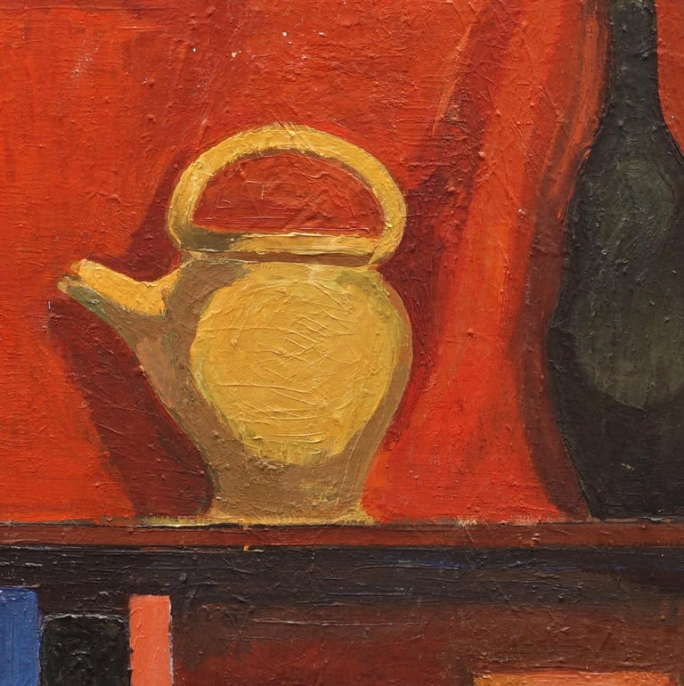 Hermann Stilling, 1925-96, oil on wood. Composition with vase, jugs, sculpture, books etc. Signed circa 1960  Hermann Stilling was educated from the Royal Danish Academy 1945-51 Today he is represented at Danish museums and the