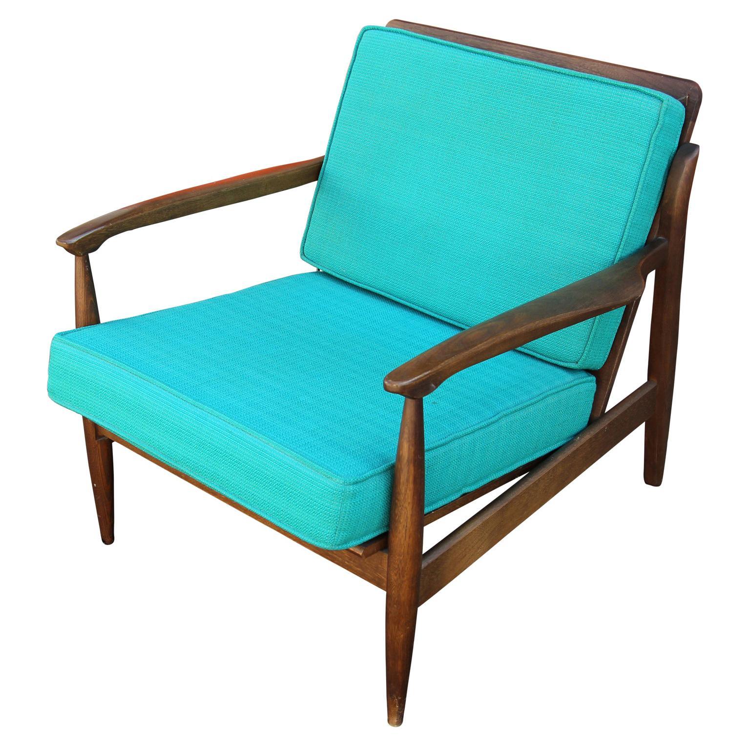 Modern Danish Style Blue Cushioned Teak Lounge Chair
