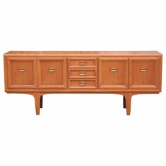 Modern Danish Style Teak Sideboard or Credenza with Brass Ring Handles