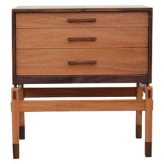 Modern Danish Style Two Tone Walnut Nightstand / Small Chest by Norm Stoeker