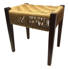 Modern Danish Wood Stool with Woven Rush Seat
