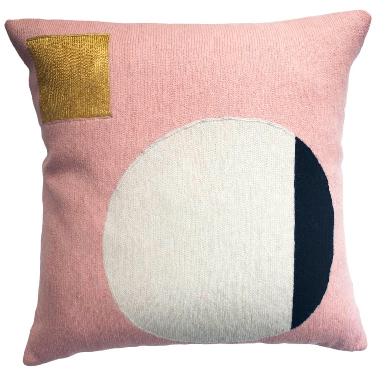 Modern Daphne Circle/Gold Hand Embroidered Geometric Wool Throw Pillow Cover For Sale