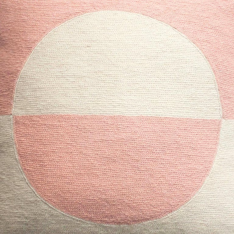 Indian Modern Daphne Circle/Pink Hand Embroidered Geometric Wool Throw Pillow Cover For Sale
