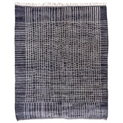 Modern Dark Gray and White Moroccan Rug, Soft and Thick Pile