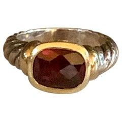 Modern David Yurman Garnet 14 Karat Yellow Gold and Sterling Silver Ring