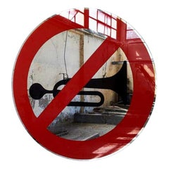 Modern Davide Medri for Dilmos Round Mirror Handcrafted Road Signs