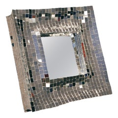 Modern Davide Medri for Dilmos Square Table Mirror Silver Glass Mosaics