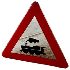Modern Davide Medri for Dilmos Triangle Mirror Handcrafted Road Signs
