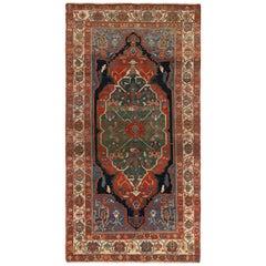 Modern Day Persian Rug Serapi Design with Large Tribal Shield Motif