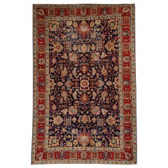 Modern-Day Persian Tabriz Rug with Traditional Floral Motif in Navy and Red