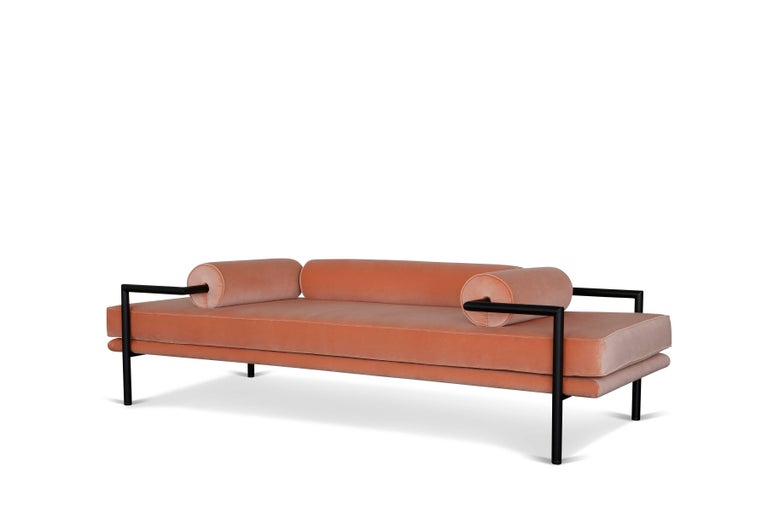 Modern Daybed or Bench in 'Powder' Velvet and Matte Black Frame by Luteca 2
