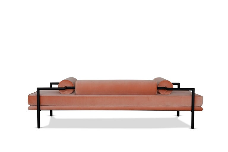 Modern Daybed or Bench in 'Powder' Velvet and Matte Black Frame by Luteca 3