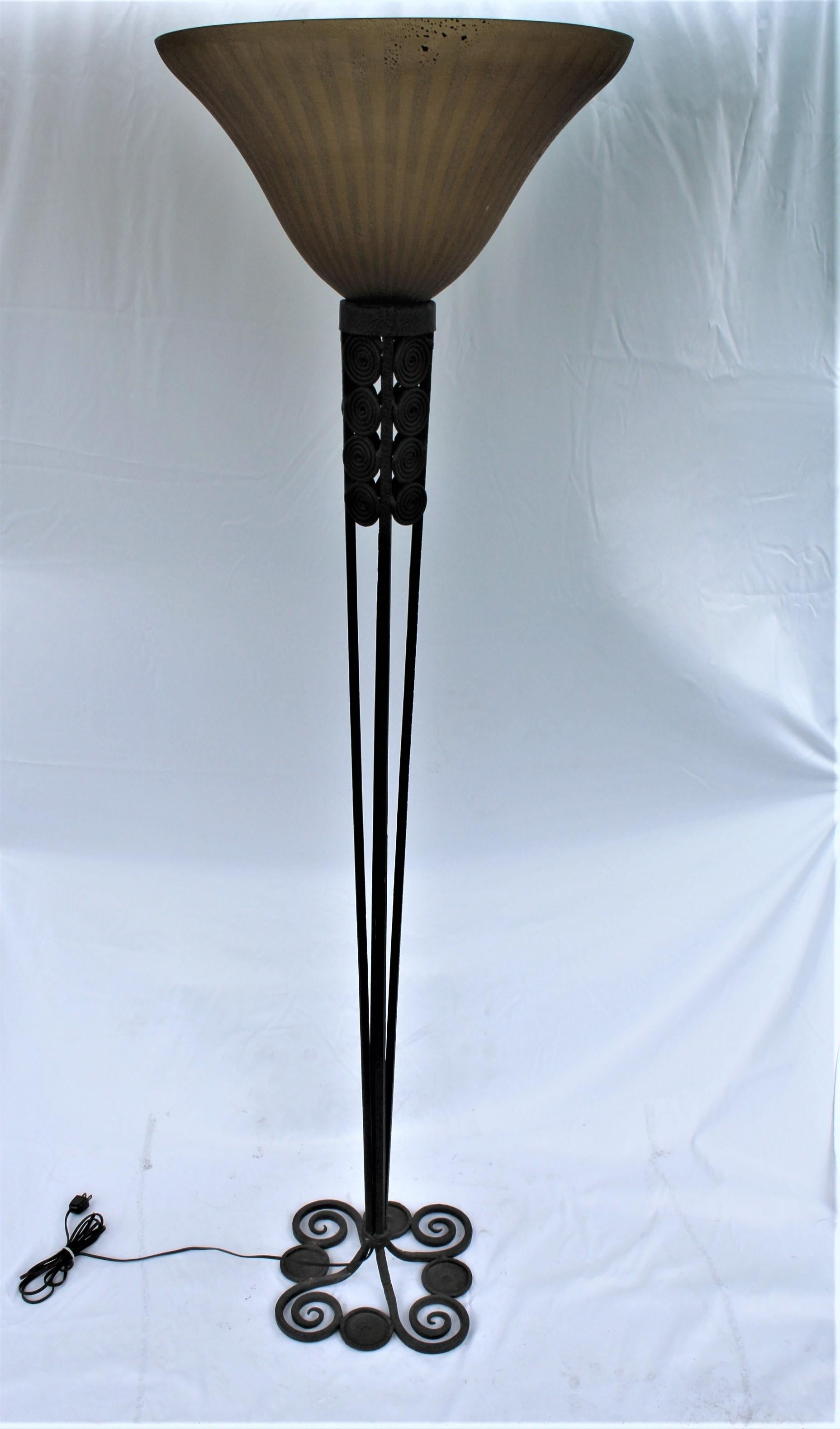 Modern Deco Floor Lamp Art Glass Shade Forged Iron Base For Sale At 1stdibs