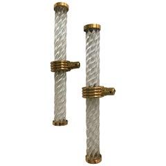 Modern Deco Pair Crystal / Brass Rope Design Drawer / Door Handles Pulls, 1950s