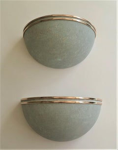 Modern Deco Pair of Half Moon Verdigris Metal and Brass Sconces Late 1970s