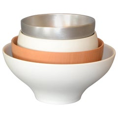 Set of 4 Modern Decorative Bowls White Silver & Brown in Ceramic Wood & Aluminum