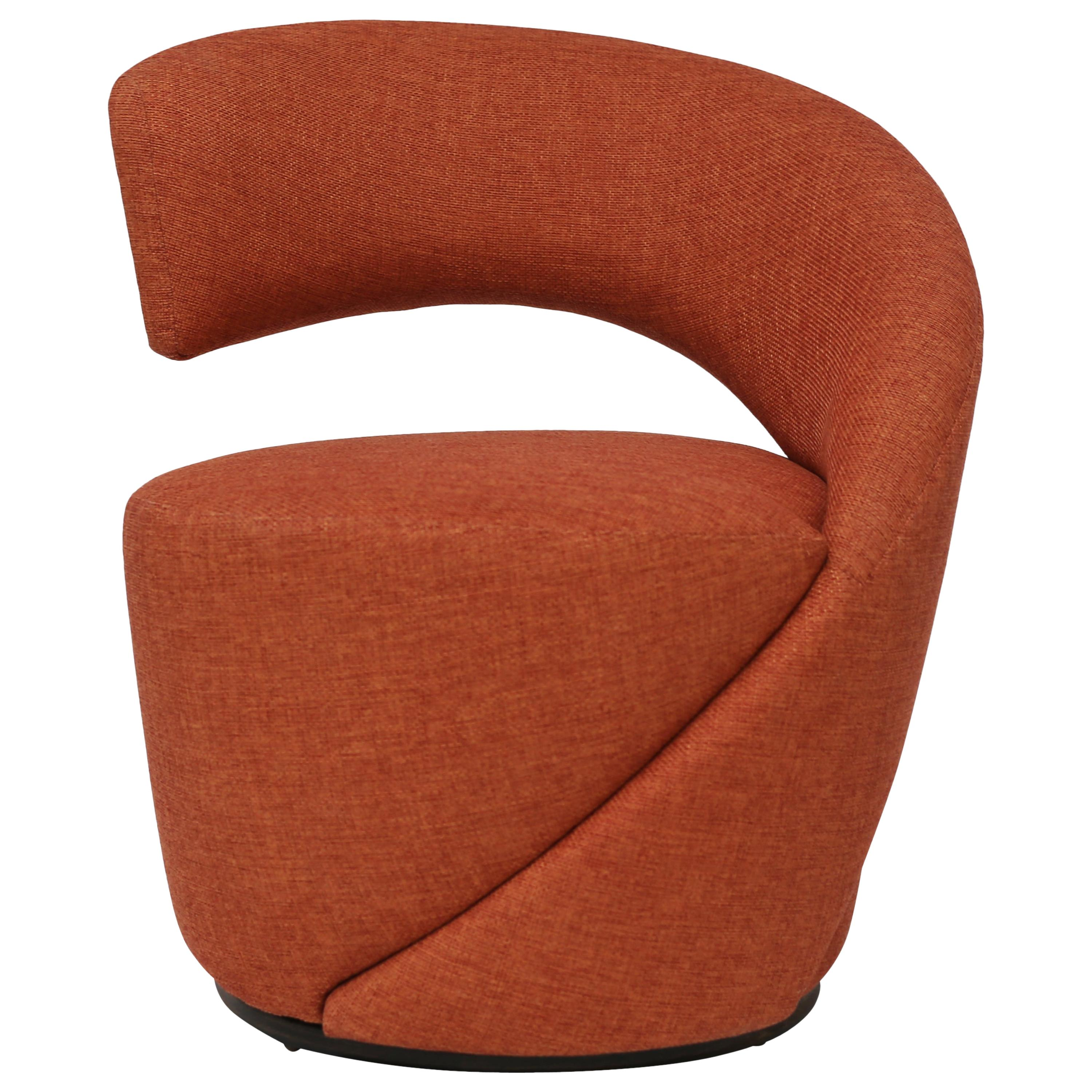 Modern Decorative Curved Club Chair and Ottoman Covered in Melon Fabric