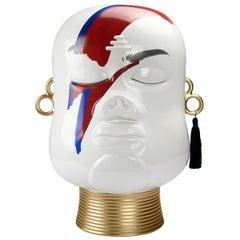 Modern Decorative Head Decor, Hand-Painted Bowie, Ceramic Figurine Sculpture