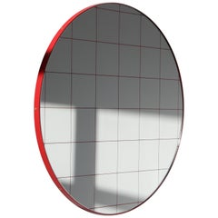 Orbis™ Red Grid Round Modern Mirror with Red Frame - Small