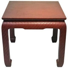 Modern Deep Red Wrapped Grass Cloth Coffee Table