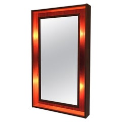 Modern Denmark Danish Teak Lighted Mirror by Pedersen & Hansen