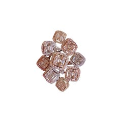 Modern Design 5.22 Carat Diamond Cluster Ring in 14 Karat Rose and White Gold