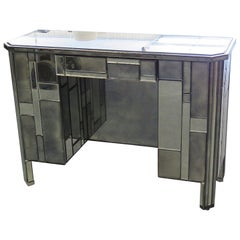 Early French Art Deco Antique Mirrored Writing Table Desk