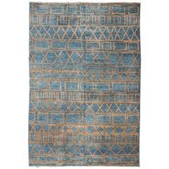 Modern Design Afghan Rug with Minimalist and Tribal Design