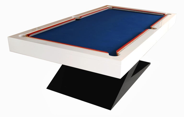 Dining table, billiard, snooker pool table and ping-pong table with a modern design.  A fine quality adjustable mahogany dining snooker, billiard, pool table. The billiard dining table comes with three removable leaves. The leaves turn the pool