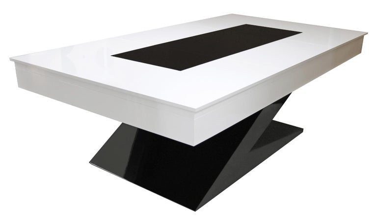 Portuguese Modern Design Billiard Snooker Pool Ping-Pong Dining Table in Black White & Blue For Sale