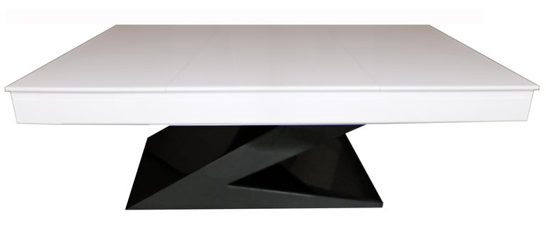 Modern Design Billiard Snooker Pool Ping-Pong Dining Table in Black White & Blue In Excellent Condition For Sale In Coimbra, PT