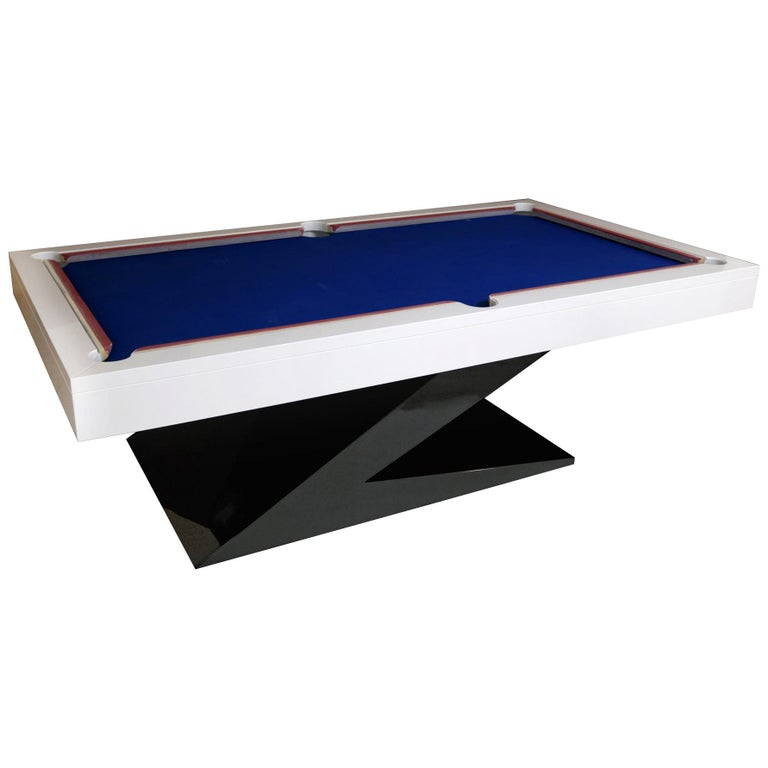 Modern Design Billiard Snooker Pool Ping-Pong Dining Table in Black White & Blue For Sale