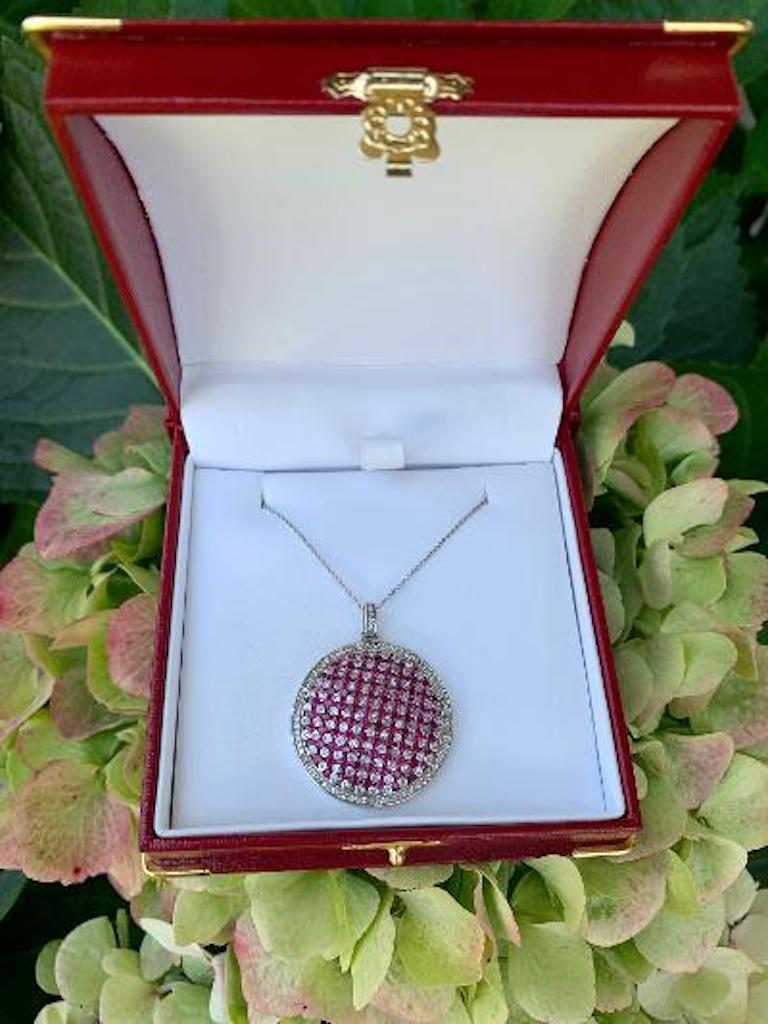 Round Cut Modern Design Effy 4.20 Carat Ruby and Diamond Checkerboard Pendant on Chain For Sale