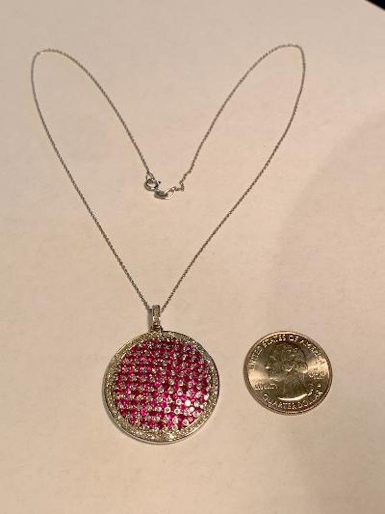 Modern Design Effy 4.20 Carat Ruby and Diamond Checkerboard Pendant on Chain In Excellent Condition For Sale In Tustin, CA