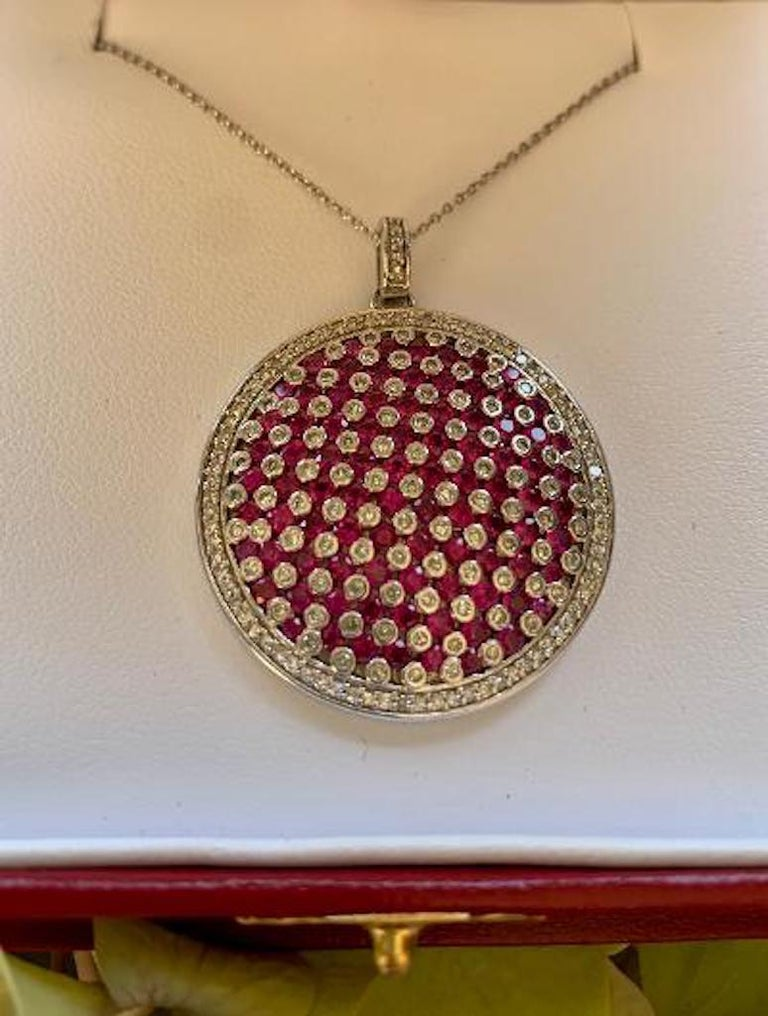 Modern Design Effy 4.20 Carat Ruby and Diamond Checkerboard Pendant on Chain For Sale 1