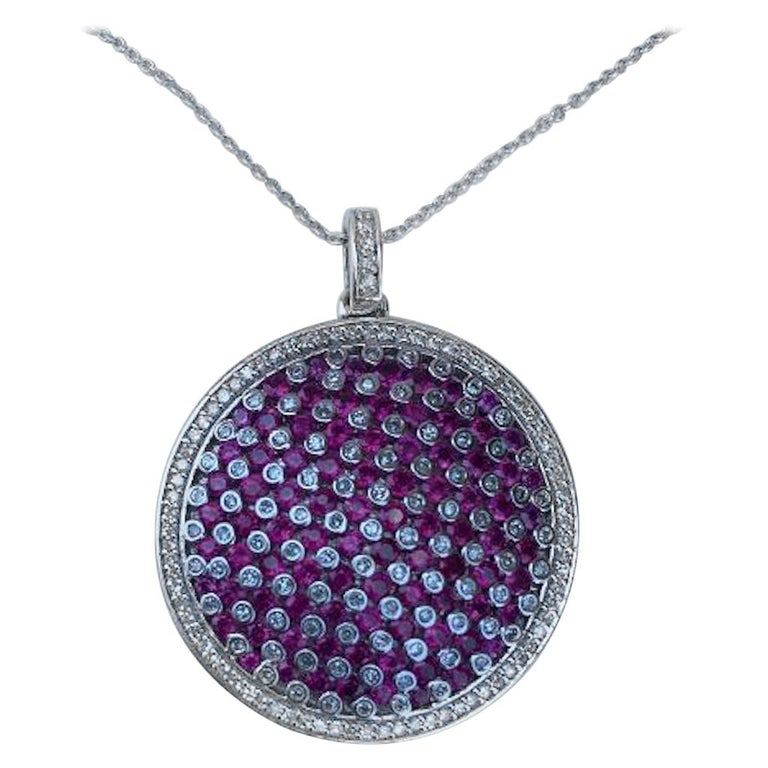 Modern Design Effy 4.20 Carat Ruby and Diamond Checkerboard Pendant on Chain For Sale
