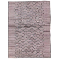 Modern Design Flat-Weave Kilim Rug in Pink with Gray highlights