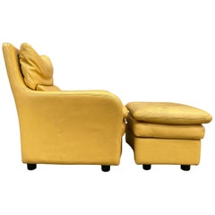 Modern Design Italian Yellow Leather Lounge Chair with Ottoman by Roche Bobois
