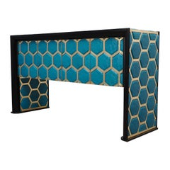 Modern Design Murano Blu Glass and Brass Sideboard, 2019