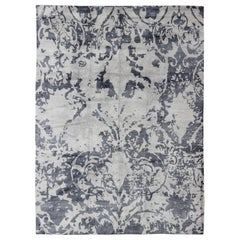 Modern Design Rug from Nepal in Gray Blue, Gray, Steel Blue and White