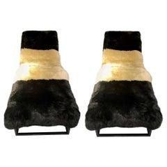 Modern Design Sheepskin Camel Black Chaise Lounges w. Bradley Hughes Shearling