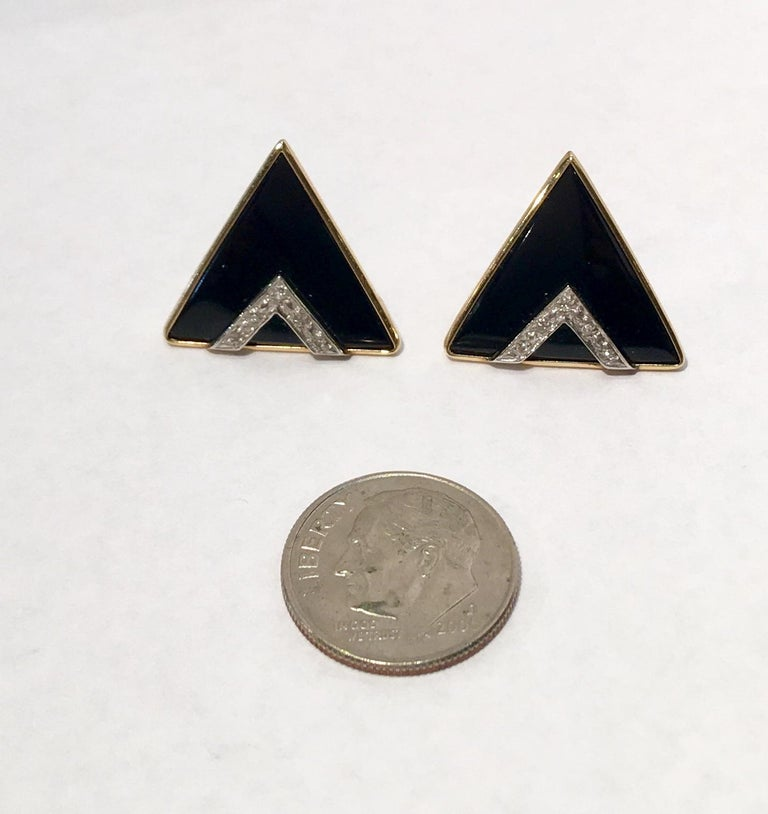 Women's Modern Design Triangular Black Onyx, Yellow Gold and Diamond Pave Post Earrings For Sale