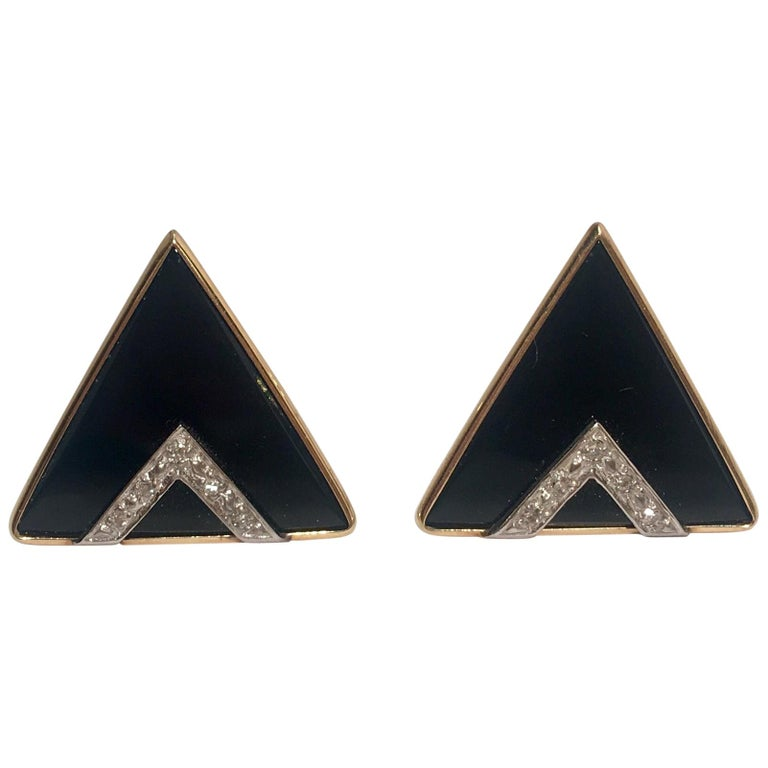 Modern Design Triangular Black Onyx, Yellow Gold and Diamond Pave Post Earrings For Sale